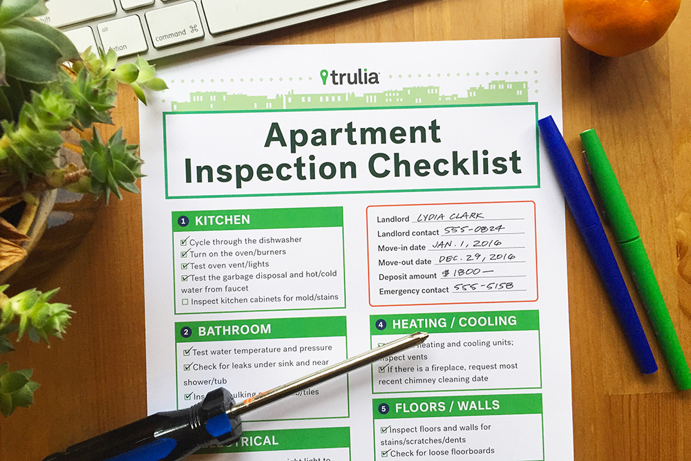 TruliaS Apartment Checklist For Rental Inspections  Real Estate