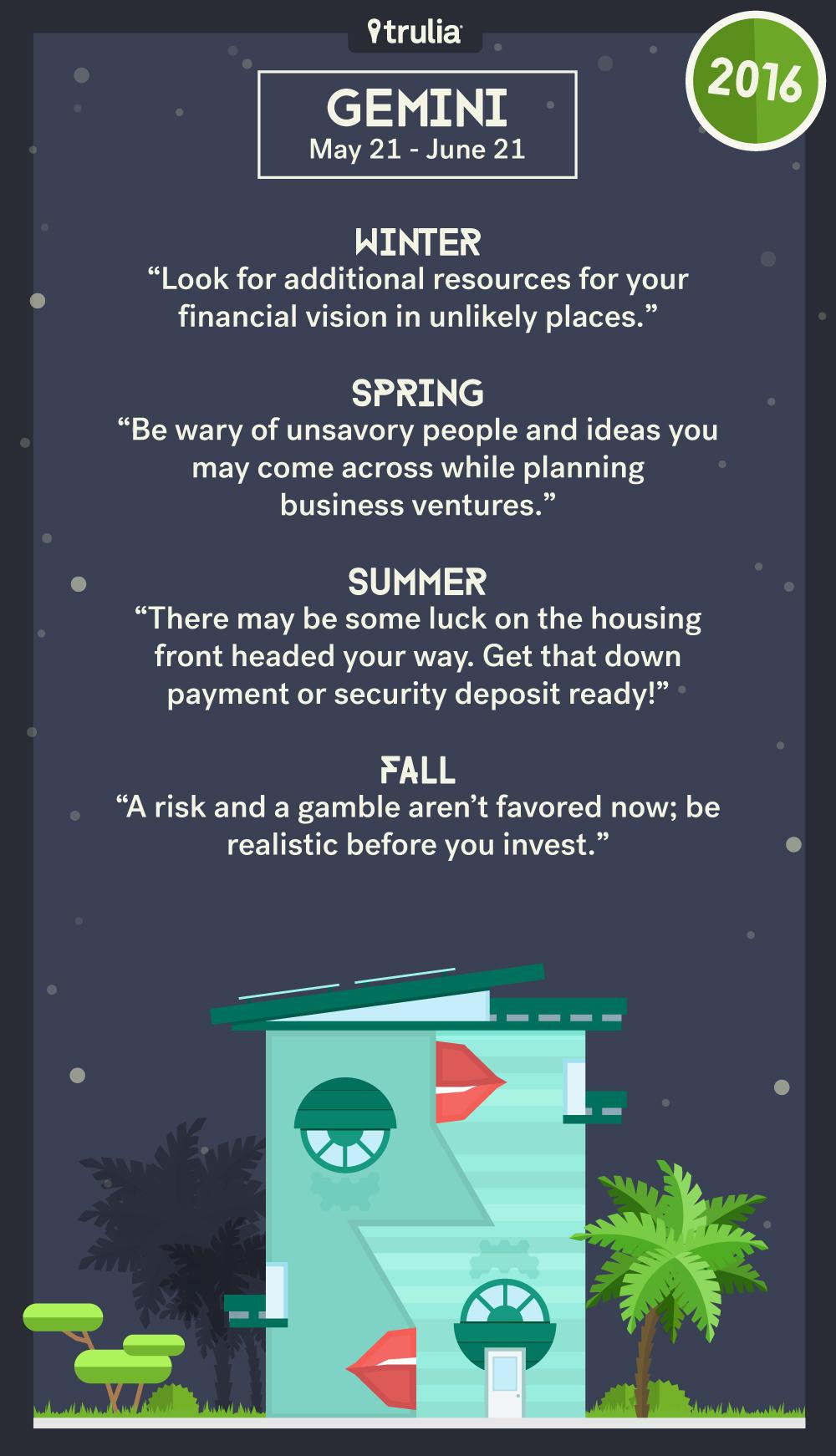 Trulia s 12 houses 2016 money horoscope money matters for Gemini homes