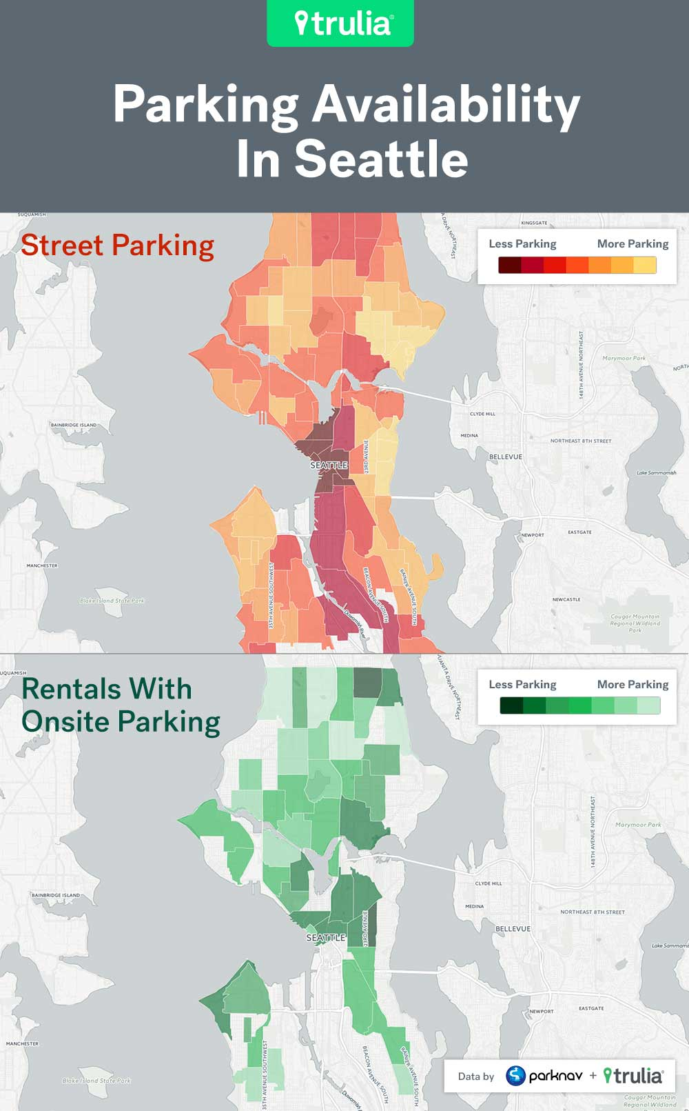 Seattle Parking Map Best And Worst Places For Renters To Park In The Big City   Trulia  Seattle Parking Map