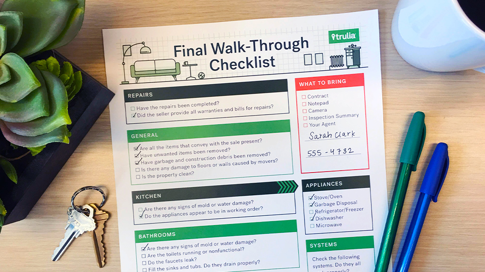TruliaS Final WalkThrough Checklist  Real Estate   Trulia Blog