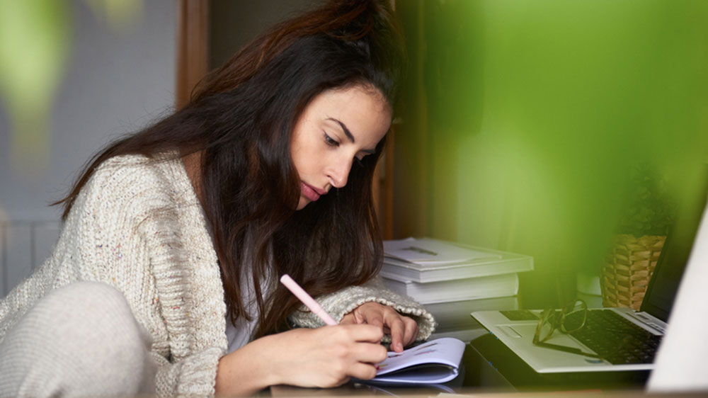 woman researching a escrow account
