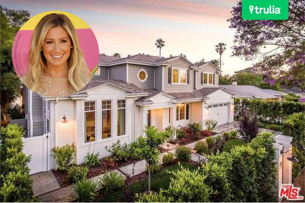 Ashley Tisdale Lists Home For Sale In Studio City CA front of house