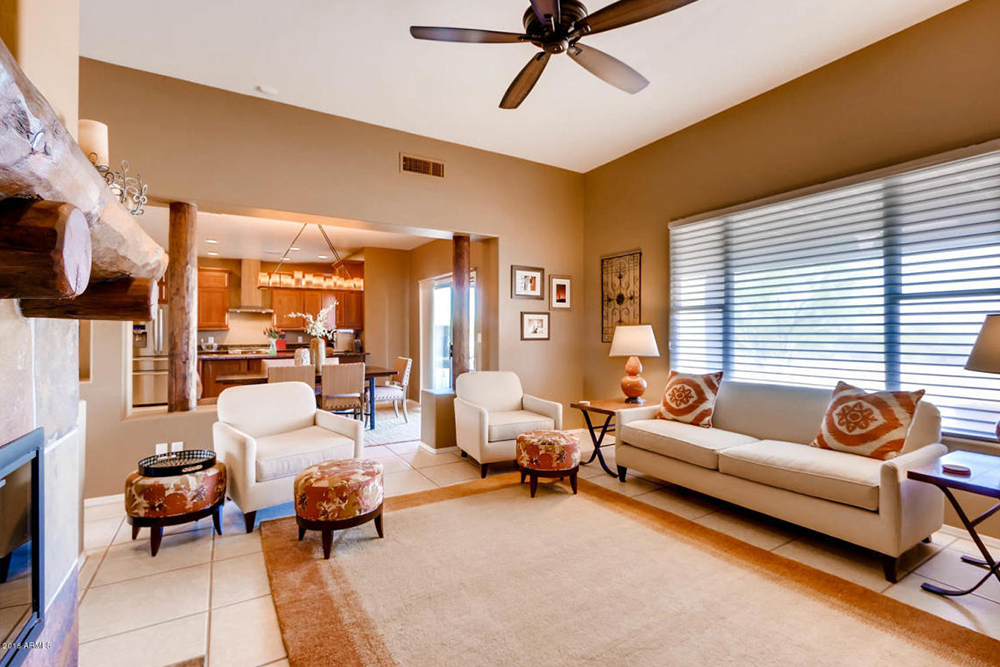 architecture styles living room with ceiling fan