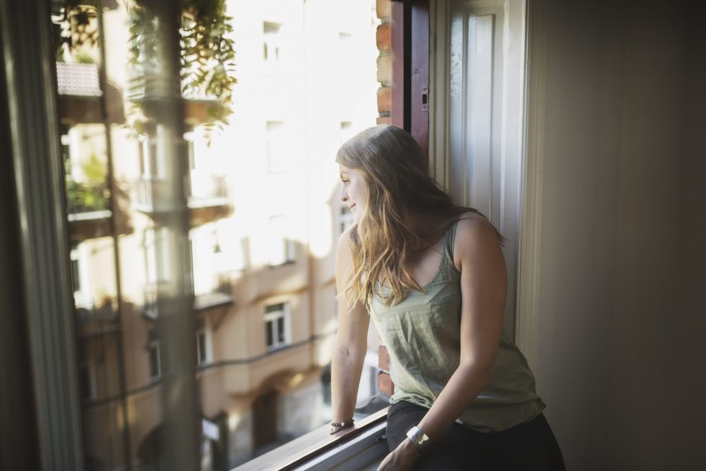 Young woman who is renting near a college campus